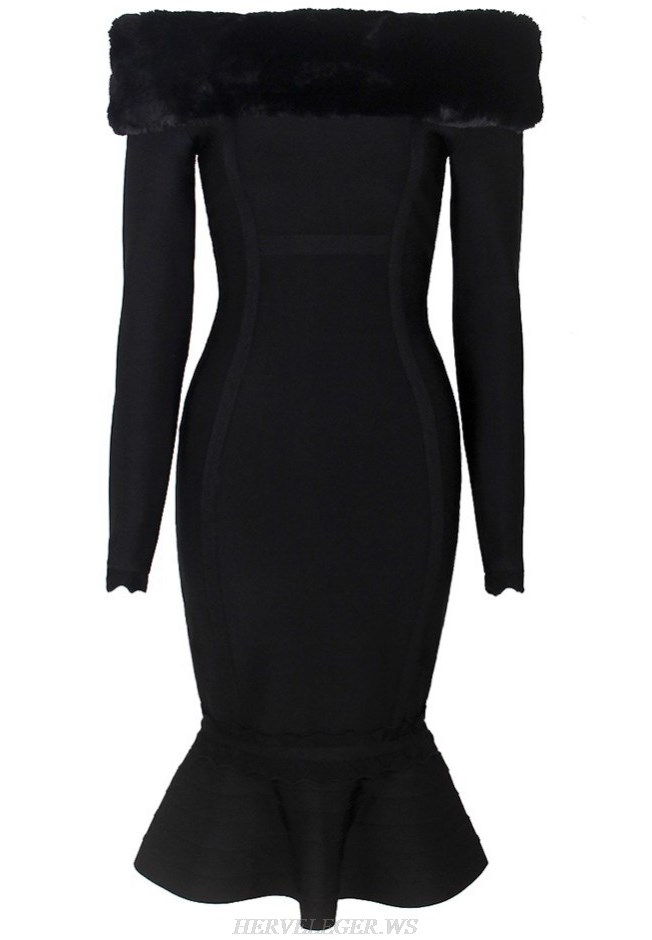 Herve Leger Black Long Sleeve Faux Fur Bardot Fluted Strapless Dress