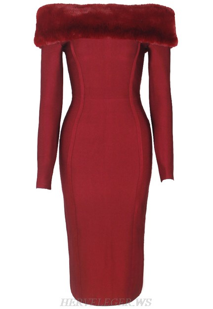 Herve Leger Red Long Sleeve Faux Fur Bardot Strapless Dress