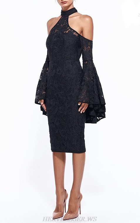 Herve Leger Black Long Sleeve Halter Lace Dress