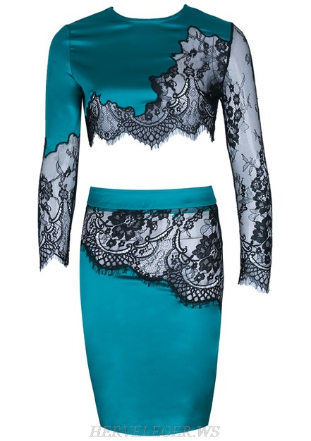 Herve Leger Turquoise Long Sleeve Lace Two Piece Satin Dress