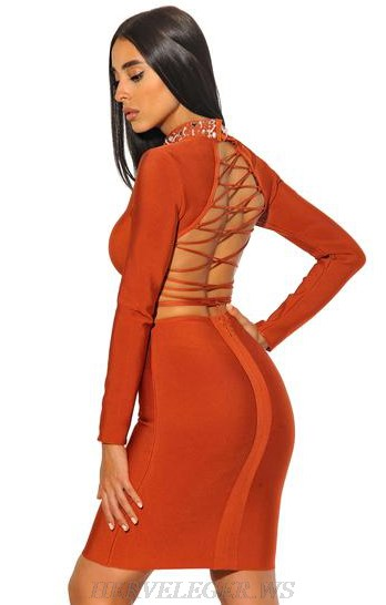 Herve Leger Rust Long Sleeve Lace Up Embellished Dress