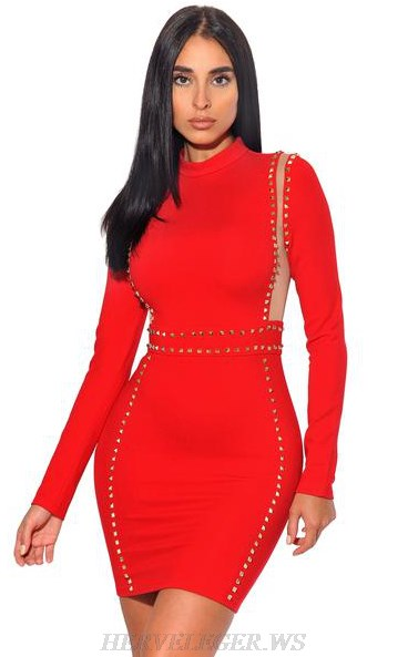 Herve Leger Red Long Sleeve Mesh Studded Dress