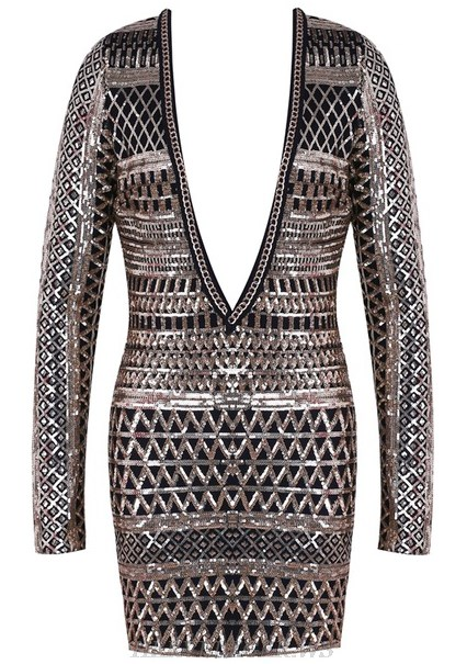 Herve Leger Gold Long Sleeve Plunge V Neck Sequin Dress