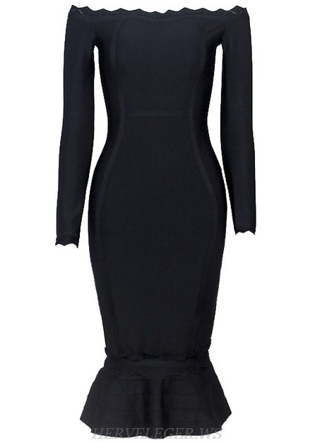Herve Leger Black Long Sleeve Scalloped Bardot Fluted Strapless Dress