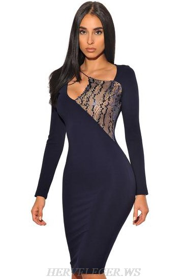 Herve Leger Blue Navy Long Sleeve Sequin Lace Dress