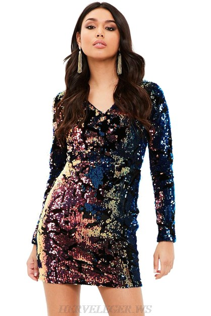 Herve Leger Long Sleeve V Neck Sequin Dress