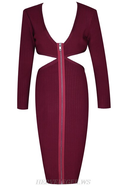 Herve Leger Burgundy Long Sleeve Zipper Dress