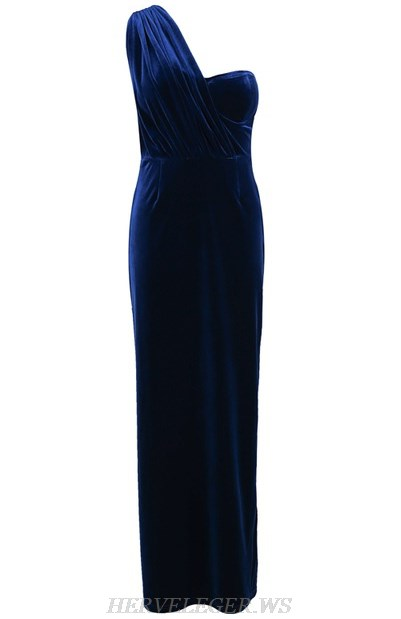 Herve Leger Blue One Shoulder Evening Velvet Gown