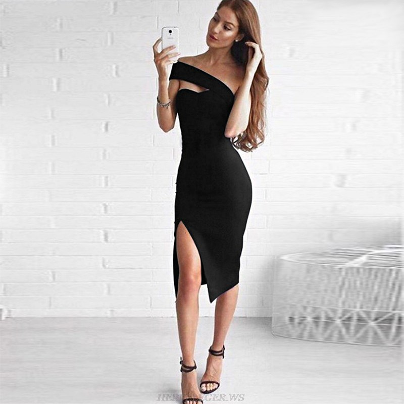 Herve Leger Black One Shoulder Asymmetric Bardot Dress