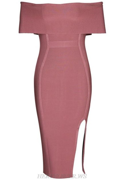 Herve Leger Dark Pink Bardot Slit Dress