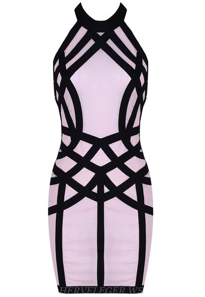 Herve Leger Pink Black Halter Mesh Panel Dress