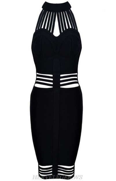 Herve Leger Black Halter Strappy Cut Out Dress