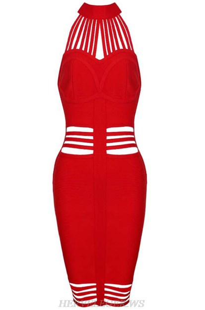 Herve Leger Red Halter Strappy Cut Out Dress