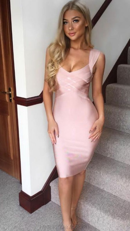 Herve Leger Pink Halter V Neck Dress