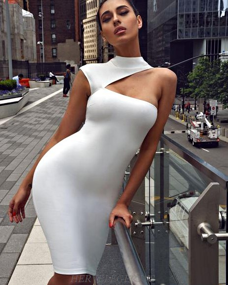Herve Leger White High Neck Asymmetric One Shoulder Dress