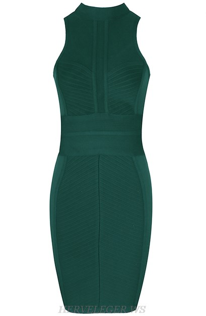 Herve Leger Green High Neck Mesh Insert Dress