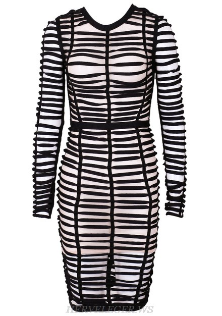 Herve Leger Black Long Sleeve Caged Mesh Dress