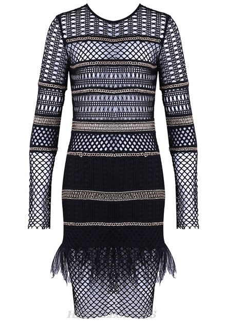 Herve Leger Black Long Sleeve Chain Crochet Feather Stars Dress