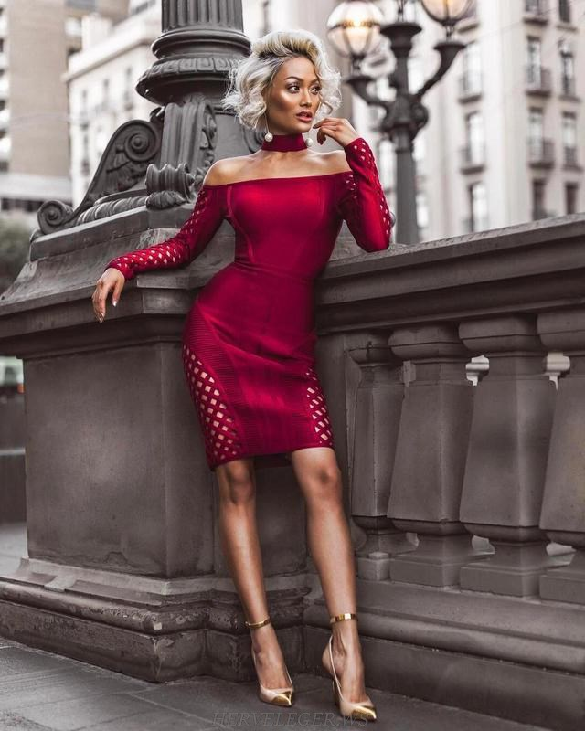 Herve Leger Burgundy Long Sleeve Choker Bardot Strapless Dress