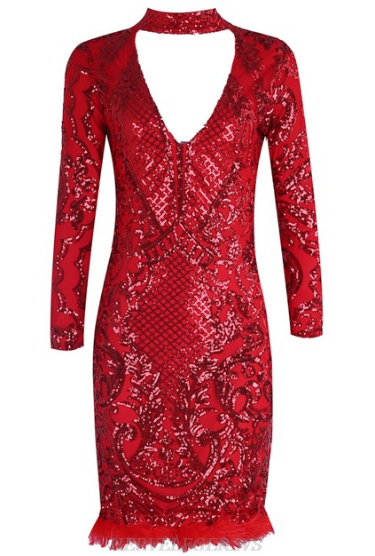 Herve Leger Red V Neck Long Sleeve Choker Sequin Feather Dress