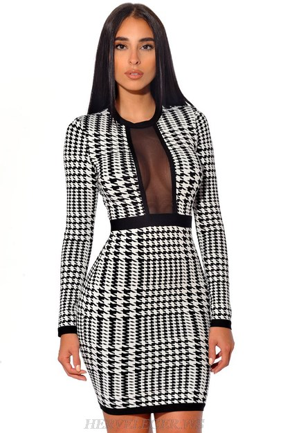 Herve Leger Black And White Long Sleeve Houndstooth Dress