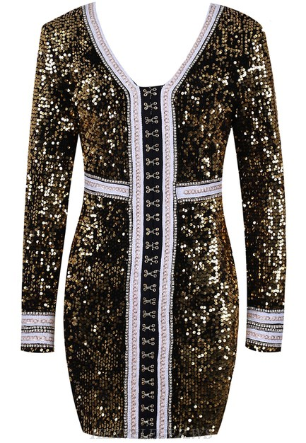 Herve Leger Gold Long Sleeve Sequin Chain Detail Dress