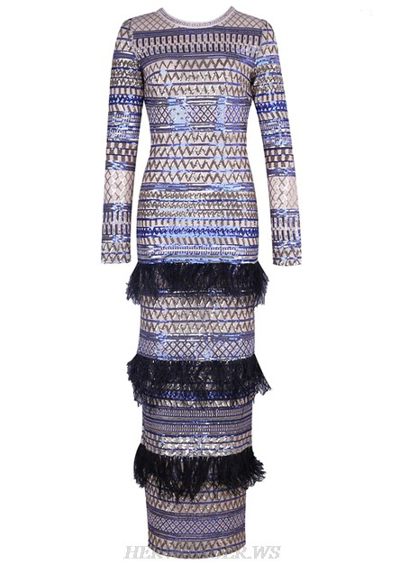 Herve Leger Gold Blue Long Sleeve Sequin Feather Gown