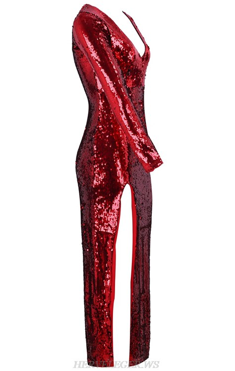 Herve Leger Red Long Sleeve Sequin Slit Stars Gown