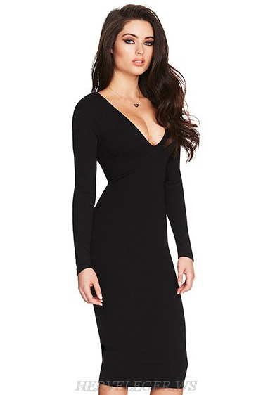Herve Leger Black V Neck Long Sleeve Tie Detail Dress