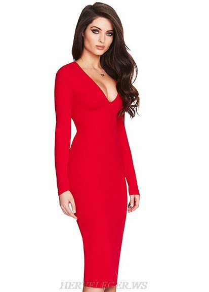 Herve Leger Red V Neck Long Sleeve Tie Detail Dress