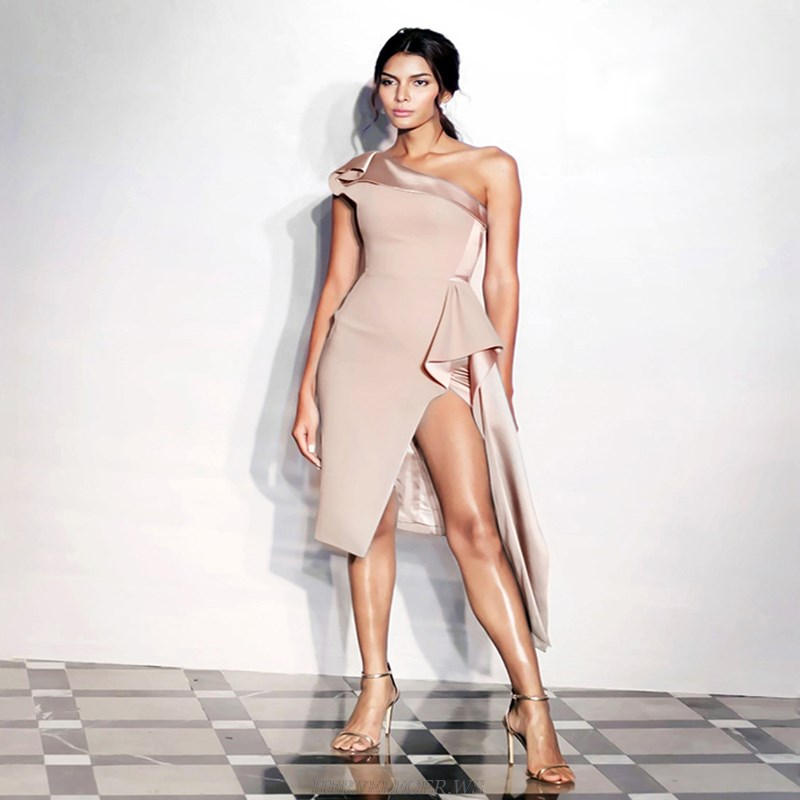 Herve Leger Nude One Shoulder Asymmetric Dress