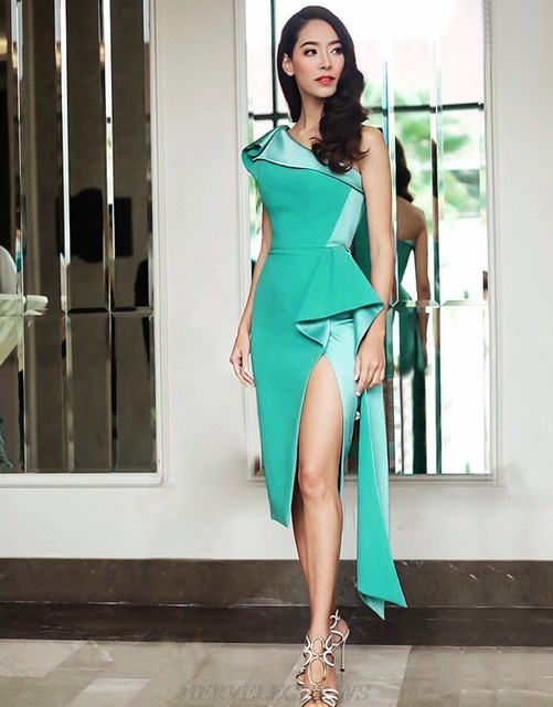 Herve Leger Turquoise One Shoulder Asymmetric Dress