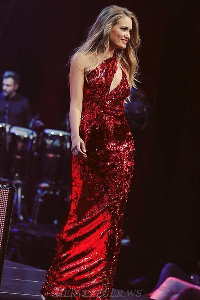 Herve Leger Red One Shoulder Sequined Stars Gown