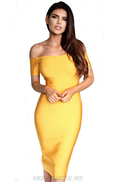 Herve Leger Yellow Short Sleeve Bardot Halter Dress