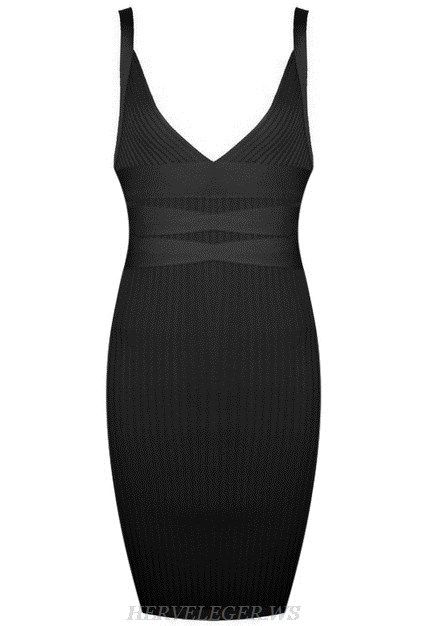 Herve Leger Black V Neck Dress