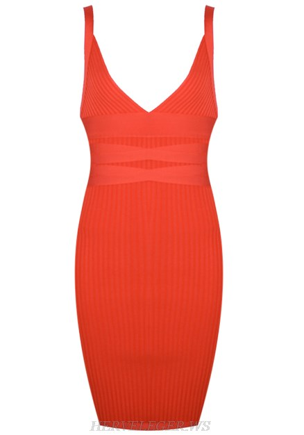 Herve Leger Orange V Neck Dress