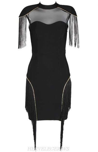 Herve Leger Black Gold Fringe Mesh Dress
