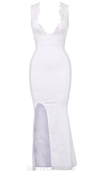 Herve Leger White Lace Insert Mermaid Evening Dress