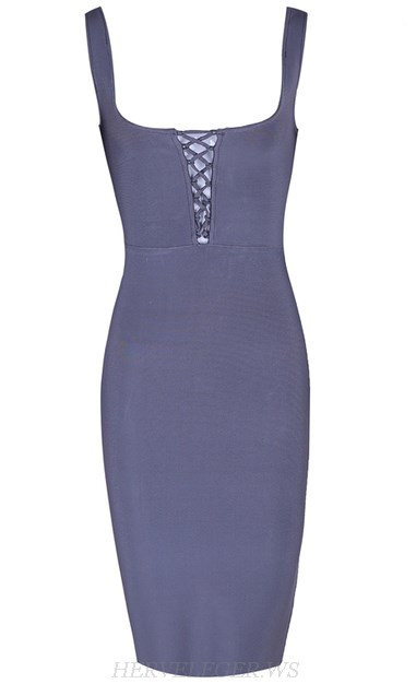 Herve Leger Grey Lace Up Front Dress