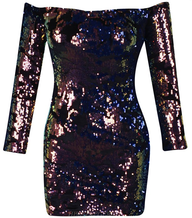 Herve Leger  Long Sleeve Bardot Gradient Sequin Dress