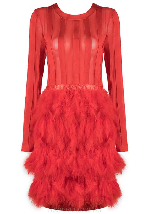 Herve Leger Red Long Sleeve Mesh Feather Dress