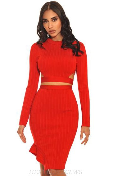 Herve Leger Red Long Sleeve Ribbed Two Piece Dress