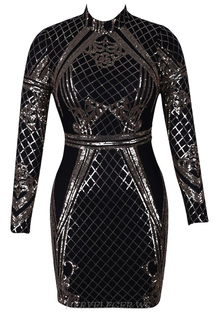Herve Leger Gold Black Long Sleeve Sequin Dress