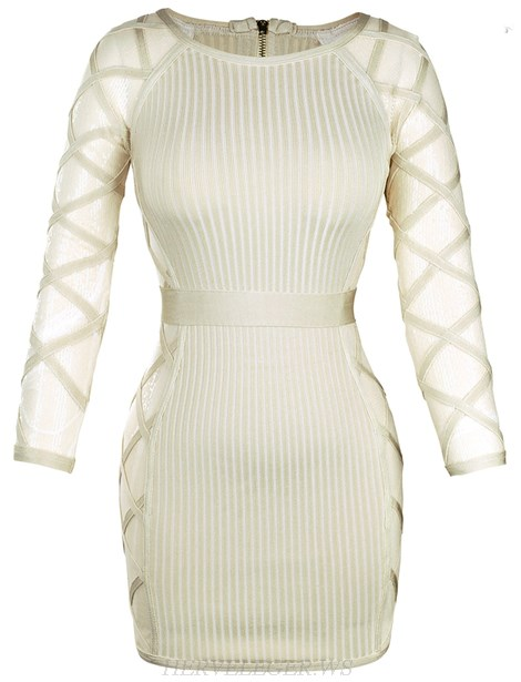 Herve Leger Nude Long Sleeve Sequin Mesh Ribbed Dress