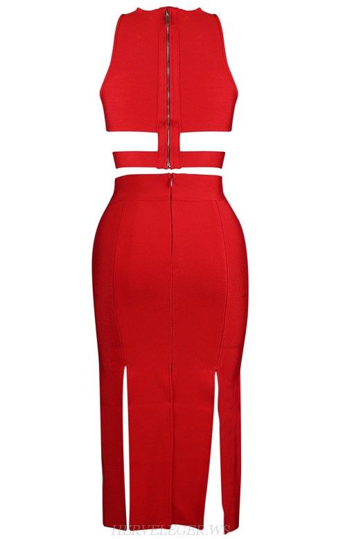 Herve Leger Red Multi Slit Two Piece Dress
