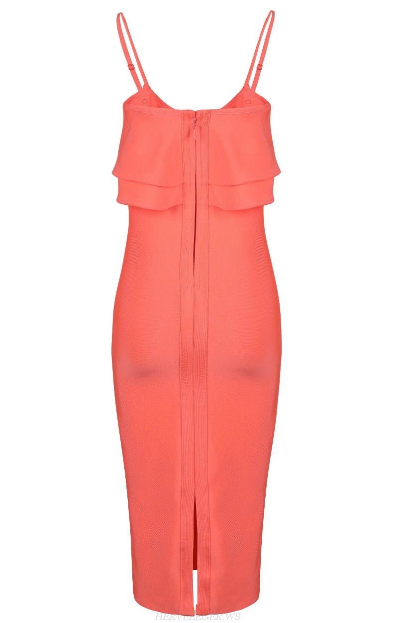 Herve Leger Coral Ruffle Dress