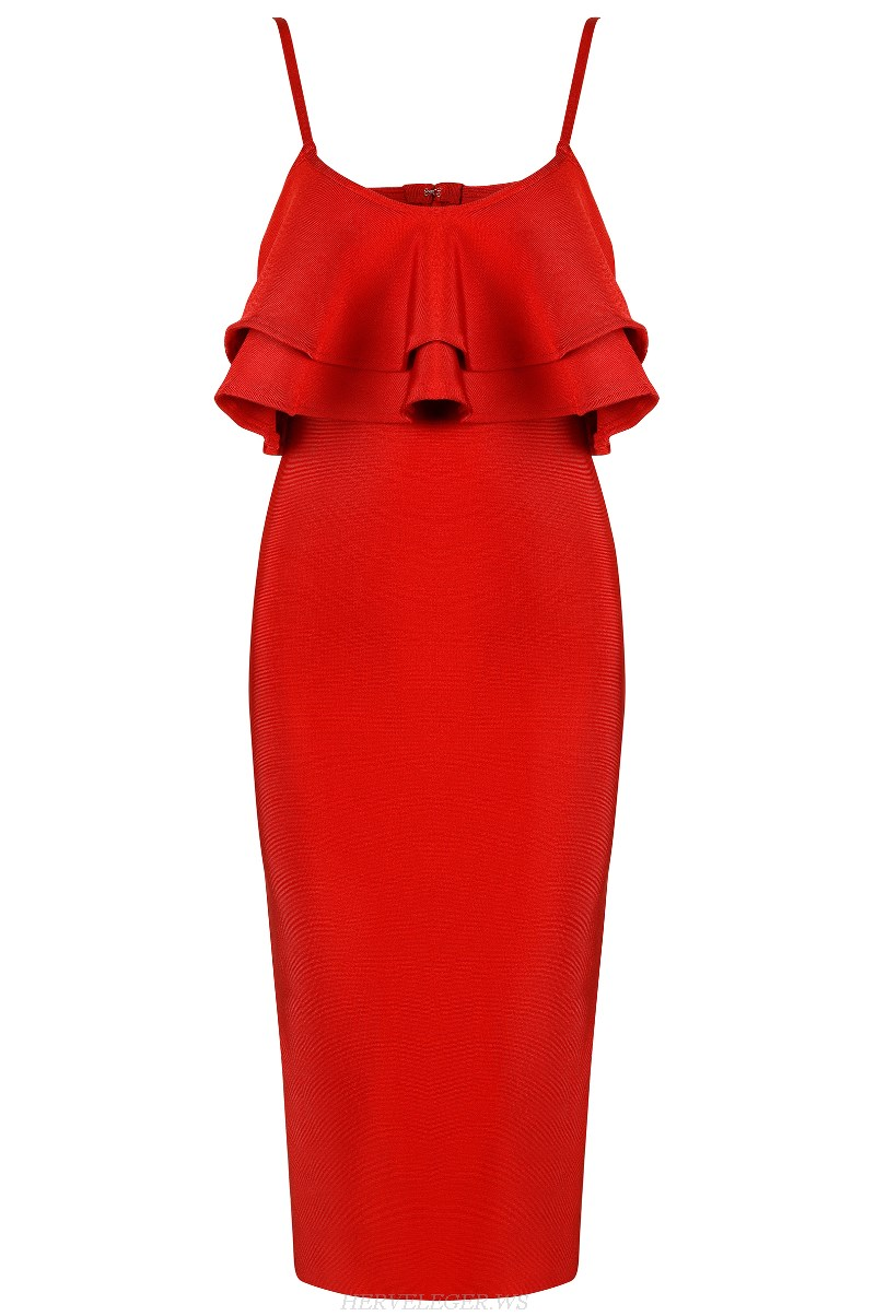 Herve Leger Red Ruffle Dress