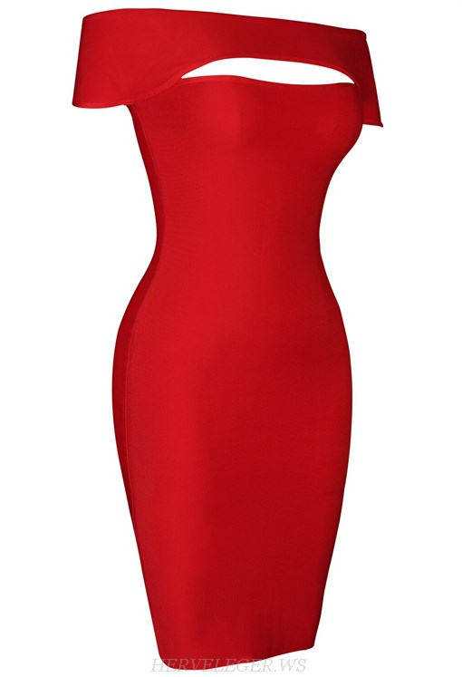 Herve Leger Red Short Sleeve Bardot Dress