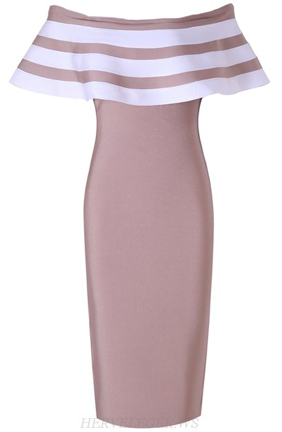 Herve Leger Dusty Pink White Striped Ruffle Bardot Dress