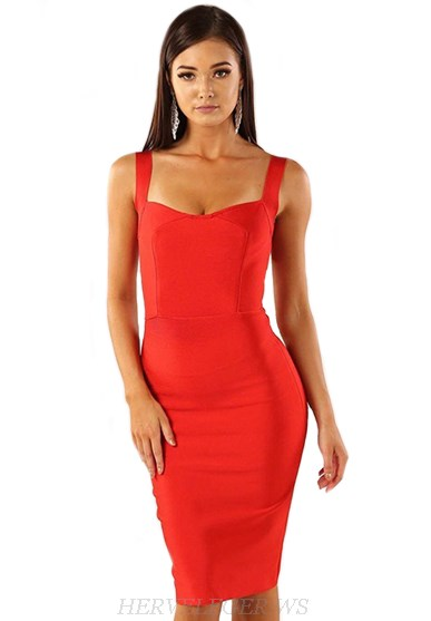 Herve Leger Red Sweetheart Dress